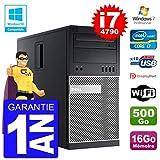 Dell PC Tour 9020 Intel Core I7-4790 RAM 16Go Disque 500Go Graveur DVD WiFi W7...