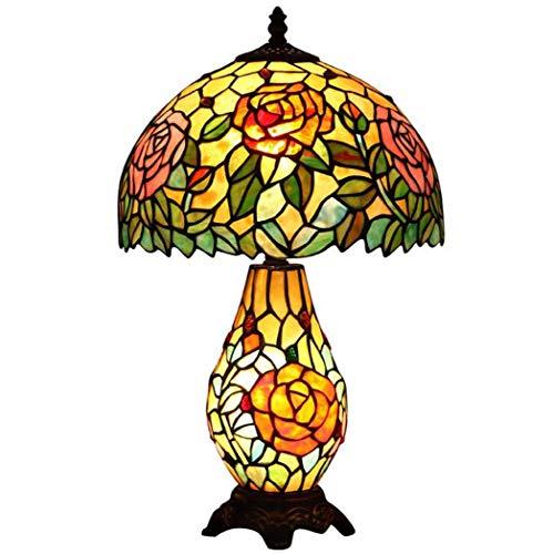 Tiffany Style Tischleuchte, Rose Design Glasmalerei Schreibtischlampe, kreative Schlafzimmer Nachttischlampe Wohnzimmer Studie Eye Protection Tischleuchten