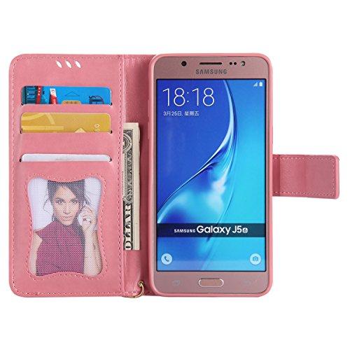 Coque Galaxy J5 2016, ISAKEN Coque pour Samsung Galaxy J5 2016 - Peinture Style Lumineux Luminous Etui PU Cuir Flip Magnétique Portefeuille Etui Housse de Protection Coque étui Case Cover avec Stand S Rose