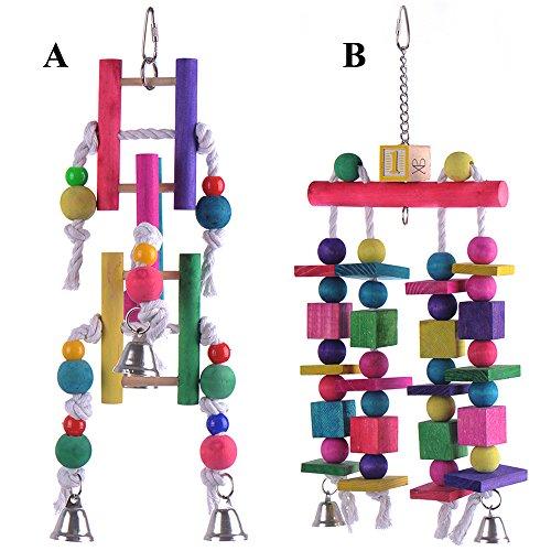 Yunt Multicolor Papagei Sittich Wellensittich Nymphensittich K?fig Spielzeug Seil Glocke Vogel Spielzeug mit Glocken(Style A)