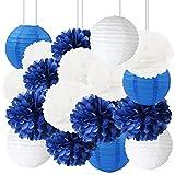 HappyField 18PCS Blanc Bleu Marine Papier de Soie Pom Pom Papier Lanternes Bleu Marine Thème Fête d'anniversaire de Mariage Douche Nuptiale Decor Baby Shower Décoration