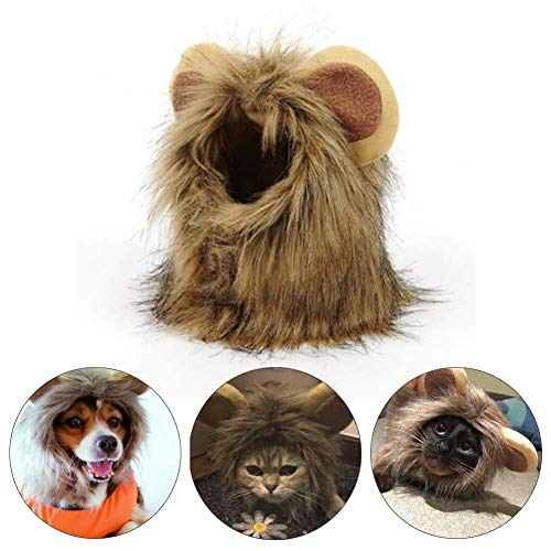 CWeep Lion Mane Costume for Cat Dog Human Pet Wig - Human Pet Kostüm