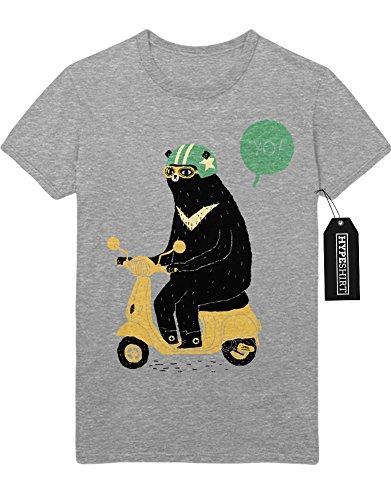 T-Shirt Bear Riding Vespa H123446 Grau