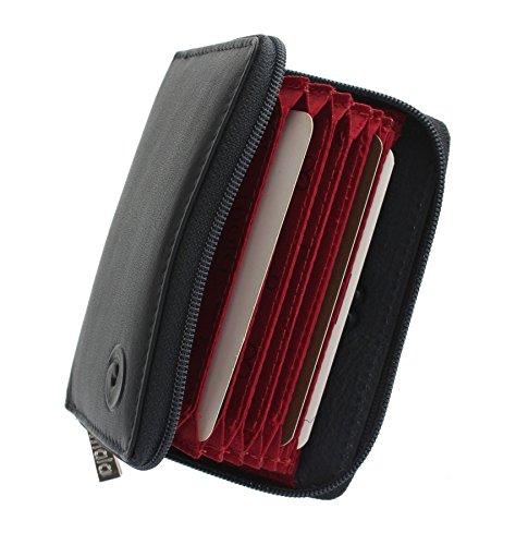 Mala Leather Collezione ORIGIN. Porta carte di credito a soffietto in pelle con protezione RFID 552_5 Blu marino