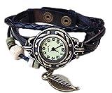 Mixe, orologio bracciale elegante da donna, con foglia in bronzo, stile boho chic di ispirazione vintage Black