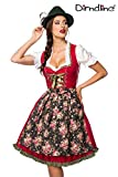 Luxus Designer Dirndl mit Schürze Kleid Dirndkleid Oktoberfest Tracht Trachtenkleid Spitze Denim Blumenprint Paspelierung Rüschen-  M, Rot/Grün