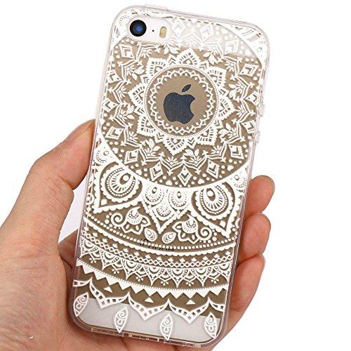 JIAXIUFEN Neue Modelle TPU Silikon Schutz Handy Hülle Case Tasche Etui Bumper für Apple iPhone 5 5S SE - Blue Purple Tribal Mandala Color18