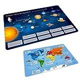 nikima - 1 Kunststoff Tischset mit Lerneffekt für Kinder - Sonnensystem + Weltkarte - Platzdeckchen Platzset abwaschbar - Geschenk Zum Schuleintritt Schulanfang Einschulung