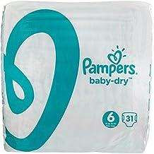 Pampers Baby Dry  - Pañales para bebés, Talla 6 (15+kg), 124 unidades