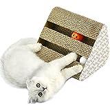 UBEST Kratzbrett für Katzen mit Katzenminze, 28*19*19CM, Dreieck Kratzbaum, Kratzmöbel, Haustier Spielzeug