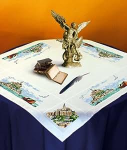 broderie nappe ourlée mont saint michel à broder au point de croix sur toile aida 5.5 collection luc création
