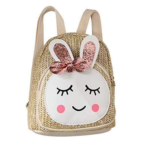 Lookhy Kinder Kinder Mode Mädchen Kaninchen Stroh Schulter Handtasche Rucksack Casual Bags Kinder First Zip Trekking Und Wander-Rucksack -