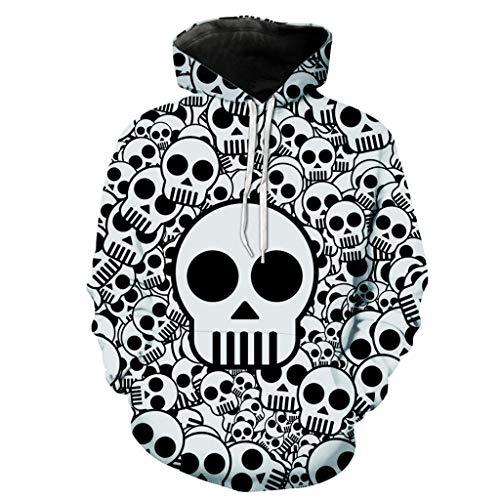 Zegeey Sweatshirt Halloween 3D Drucken Damen Langarmshirt Hoodies Kapuzenpullover Kapuzenjacke Outwear Herbst Winter Festliche Oberteil Blusen Pullover Party KostüM(Weiß,EU-42/CN-2XL)