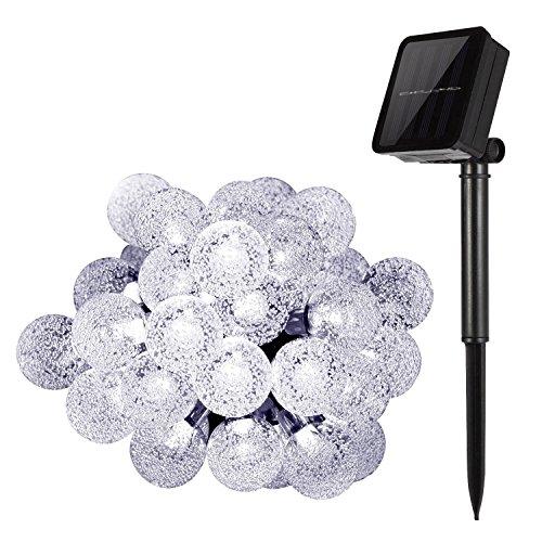 Catene di luci solare per esterni, King Coo® 20ft 30LED sfera di cristallo luce lenza-corda (Corda Solare)