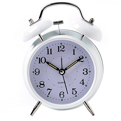 Doppelglockenwecker mit Nachtlicht, Zifferblatt von 4 Zoll, Vintage Analog Quarzwecker mit Runden Metall Alarm, kein Ticken, geräuschlos, 3D Zahlen für Ihr Schlafzimmer, Büro, Kinderzimmer (Twin-schwarz-holz-bett)