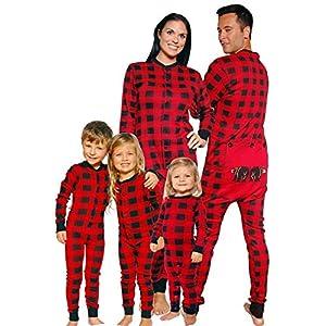ZYJFP Pijamas Una Pieza Familiares De Navidad, Conjuntos Navideños De Algodón Diseño De Rayas Para Mujeres Hombres Niño Bebé, Dormir Suéter De Navidad,Rojo,fatherXL 14