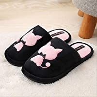 WARRT Cotton Slippers Women Cat Slippers Winter Warm Woman Fashion Soft Shoes Short Plush Comfort Female Couple Style 6 Pink cat