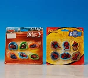 SPIDER MAN DISNEY CARS ERASERS 6 ERASERS PER PACK 2 PACKS PER SET~YOU WILL RECEIVE ONE PACK OF EACH DESIGN