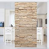 Panel japones Asian Stonewall - Large brigth stone wall of cosy stones 250x120cm | paneles japoneses separadores de ambientes cortina paneles japoneses cortina cortinas | Tamaño: 250 x 120cm incl. soporte transparente