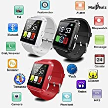 U8 Smartwatch MaiDealz Bluetooth 4.0 Multi-idiomas Reloj Inteligente Smartwatch Podómetro/ Monitor de Sueño/ Alarma/ Calendario con la Pantalla Táctil Compatible con Android Smartphones como Samsung, HTC, Sony, Huawei (Negro)