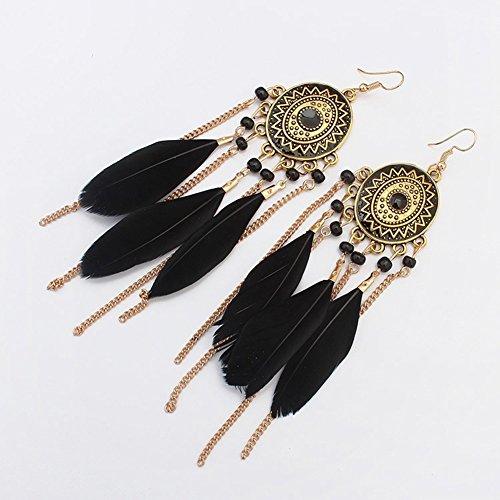 Cosanter Pendientes de Estilo Retro del Largo Ear Sweep Cuff Gancho Pendientes Color Negro