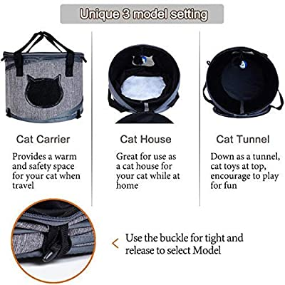 LIFEPUL Collapsible Cat Travel Carrier Kennel & Cat Tunnel (2 in 1 Use) - Cat Tube Indoor Outdoor Play with Fun Ball for Puzzle Exercising Hiding Training And Running from Lifepul