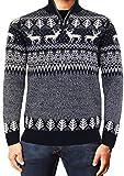 Weihnachts Jumper Weihnachten Xmas 3D Sweatshirt Sankt Elf Schneemann Strickwaren Threadbare,IMX024 Rentier Twist Marine,S