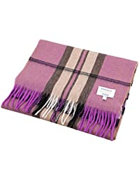 Edinburgh 100% Cashmere Wide Scottish Tartan Luxury Scarf Thomson Raspberry (One Size)