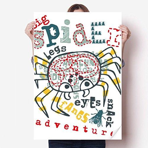 DIYthinker Entdecken Welt Spinne Abenteuer Muster Vinylwand-Aufkleber-Plakat-Wand Tapete Raum Aufkleber 80X55Cm 80cm x 55cm Mehrfarbig