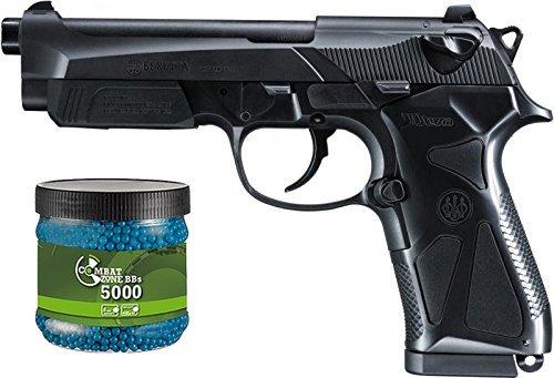 g8ds Set: Softair Two Pistole Beretta 90 Federdruck + Umarex Combat Zone Softairkugeln blau 6mm 0,12g 5000 BBS