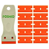 FOSHIO 1.5 'Mini rasoio di plastica doppio taglio lama raschiante con 10pcs di sicurezza in plastica raschietto rasoio lame per rimozione di etichette, adesivi e decalcomanie da automobili e altri superficie delicata