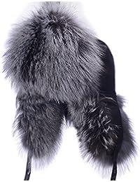 Ysting Silver Fox Piel y Cuero de Rusia Ushanka Sombrero