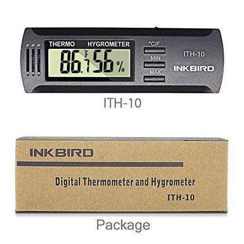 Inkbird ITH-10 Digitale Klimaanlage Thermo-Hygrometer Thermometer Temperatur Humidity Recorder für Zigarren Schrank Humidor mit LCD Display,Celsius & Fahrenheit