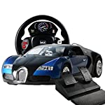 Remote Contorlled Car where the remote works like a real steering wheel of a car. Free moving control open doors. Gravity sensor. Open doors when platform control. Remote steering wheel functions: Start Sound, left right turn, Gear changing (Car move...