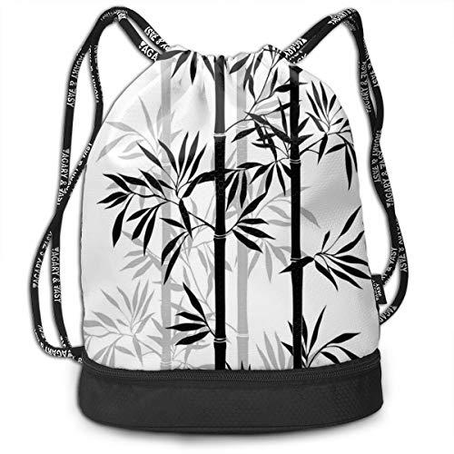 Printed Drawstring Backpacks Bags,Silhouette of Spiritual Bamboo Tree Leaves Japanese Zen Feng Shui Boho Image,Adjustable String Closure