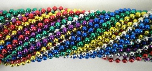 33 Inch 07mm Round Metallic 6 Color Mardi Gras Beads - 6 Dozen (72 Necklaces)