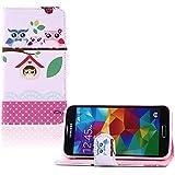 tinxi® Kunstleder Tasche für Samsung Galaxy S5 / S5 NEO Schutzhülle Flipcase Schale Cover Etui Skin Standfunktion mit Karten Slot Eule Owl Familie