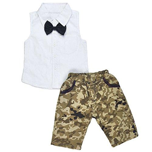 Kinderkleid Honestyi Neugeborenen Kind Jungen Bogen T Shirt Tops Camouflage Hosen Outfits Kleidung Set (Weiß 0,)