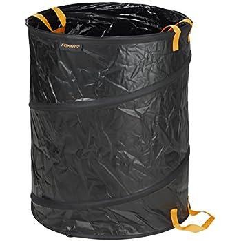Fiskars Großer PopUp-Gartensack mit Griffen, Fassungsvermögen: 172 l, Schwarz/Orange, Solid, 1015647