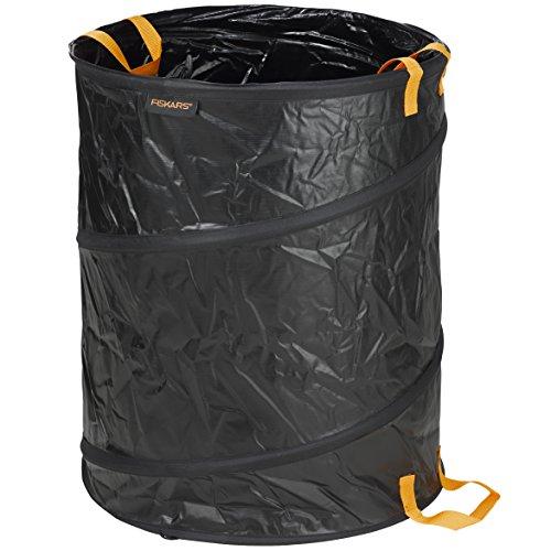 Fiskars Großer PopUp-Gartensack mit Griffen, Fassungsvermögen: 172 Liter, Schwarz/Orange, Solid, 1015647