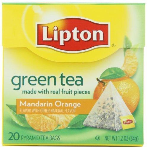 Lipton Thé Vert, mandarine, orange, Premium Pyramide Thé Sac, boîte de 20, jardin, pelouse, Entretien