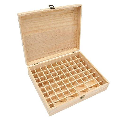 Ätherisches Öl Box, Großer Hölzerner Aufbewahrungsbox für 32 Stück 5-15 ml Aromaöle ätherische öle Nagellack Liquidflaschen, Perfekt für Reise & Präsentationen (74 Fächer)