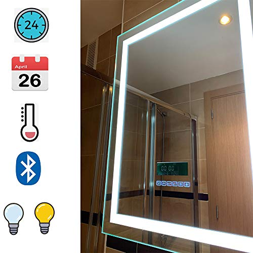 Turefans Espejo de baño,Audio Bluetooth, Pantalla LCD Fecha, Hora, Temperatura, antivaho, Dos Colores...