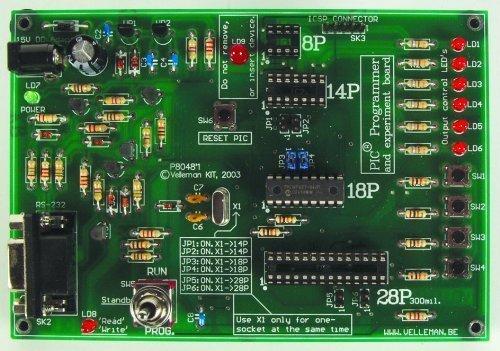 VELLEMAN K8048RS PIC PROGRAMMER & EXPERIMENT BOARD KIT (Pic Programmer Kit)
