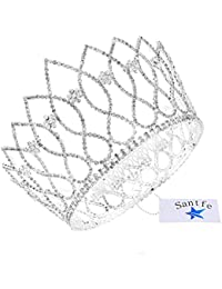 Santfe brillantes joya de la corona Tiara para Boda Pageant novia Princesa Diadema