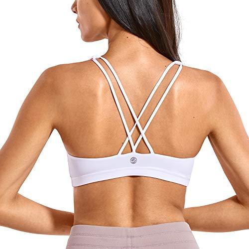 CRZ YOGA Damen Yoga Sport BH - Gekreuzte Rücken,Abnehmbare Padded Weiss M -