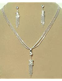 DollsofIndia White Stone Studded Pendant With Chain And Earrings - Stone And Metal (JR65-mod) - White