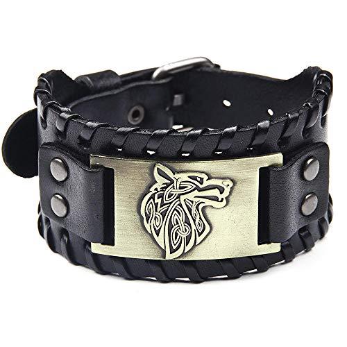 Uomini bracelet larghezza in pelle lega punk tessuto tendenza di moda cool testa di lupo fascino semplice stile casual sportivo personalità creativa polso regalo gioielli anniversario compleanno deg