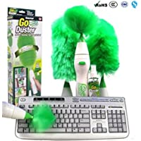 Romote plumero eléctrico giratorio multifuncional réglé cepillo de limpieza motorizado plumeaux verdes de pluma para el teclado de muebles de pantalla para lámpara