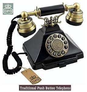 Ornate Vintage Style Old Fashioned Telephone - Black